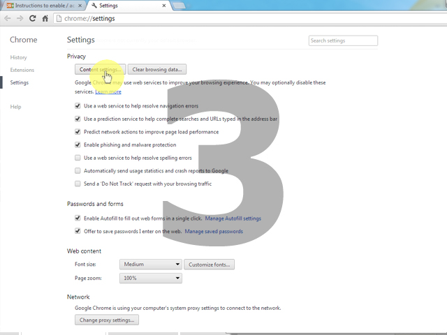 Instructions to enable javascript in google chrome hit the strongcontent settings ccuart Image collections