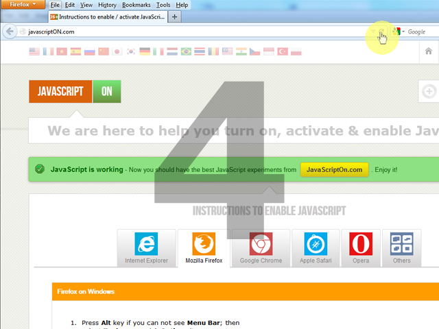 Instructions to turn on JavaScript in Mozilla Firefox browser
