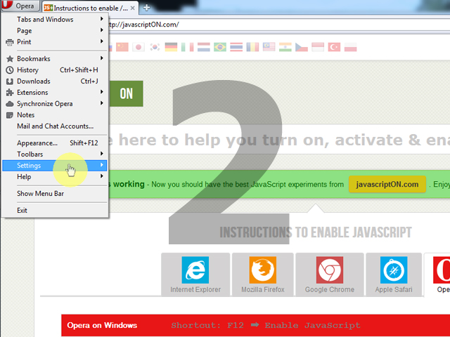 Learn to turn on javascript in opera browser next click the strongsettingsstrong ccuart Image collections